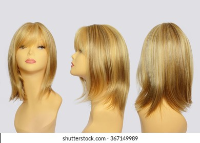 Wavy hair wig over the white plastic mannequin head isolated over the white background, set of three foreshortenings