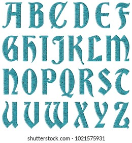 Wavy liquid water style antique ancient font style full alphabet capital letter set in a 3D illustration with a teal blue color and wave surface isolated on a white background with clipping path.