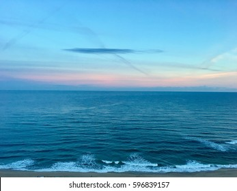 Wavy Mediterranean sea beach at sunrise time in Skikda Algeria