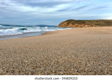 Wavy Mediterranean sea beach at sunset evening time in Skikda Algeria