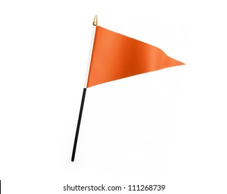 Wavy Orange Flag isolated on white background