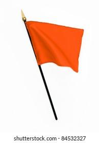 Wavy Orange Silk Flag isolated on white background