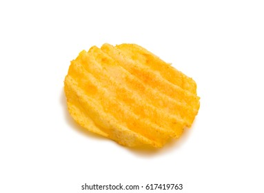 Wavy potato chips on a white background