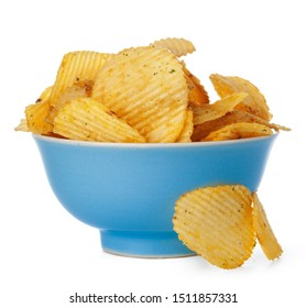 Wavy ribbed chips isolated on white background