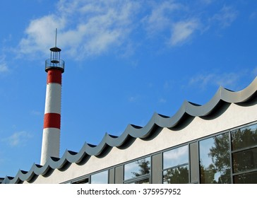 Wavy roof and lighthouse in Zingst
