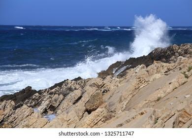 Wavy sea waves and splashes