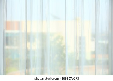 Wavy of White curtain interior background,Curtains window decoration interior of room