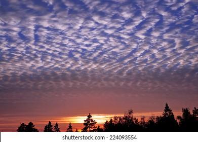 Wavy-restless (Undulatus Asperatus) clouds during sunset