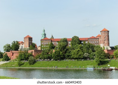 Wawel Castle in Cracow at the Vistula river, Poland