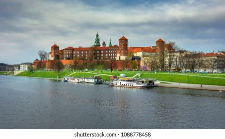 Wawel castle famous landmark in Krakow Poland.