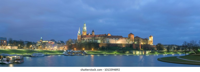 Wawel Castle in Krakow at Dusk, Poland