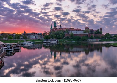 Wawel Castle in Krakow, Poland, seen from the Vistula boulevards in the colorful morning
