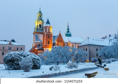 Wawel Castle in Krakow at twilight. Krakow is one of the most famous landmark in Poland