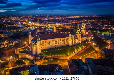 Wawel Castle at night, Cracow, Poland