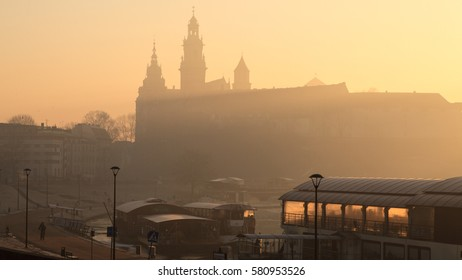 Wawel castle and Vistula river in Krakow, Poland, on a highly polluted morning