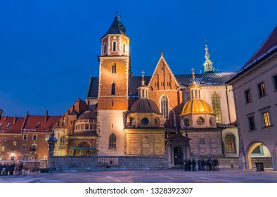 Wawel cathedral illuminated at winter night, Krakow, Poland