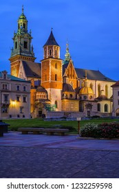 Wawel Cathedral at night in Krakow, Poland, Royal Archcathedral Basilica of Saints Stanislaus and Wenceslaus in Romanesque, Gothic, Baroque and Renaissance architectural styles.