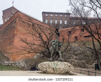 The Wawel Dragon statue close by Wawel Royal Castle in the city center of Krakow, Poland.