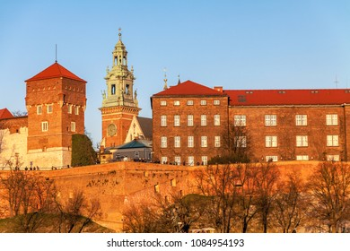 Wawel hill with historical royal castle building in Krakow