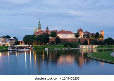 The Wawel Royal Castle and Cathedral Basilica in Krakow, Poland.  Wawel Royal Castle is a the UNESCO World Heritage