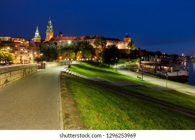 Wawel Royal Castle at night in city of Krakow in Poland.