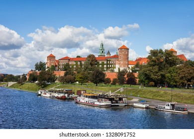 Wawel Royal Castle river view in city of Krakow in Poland.
