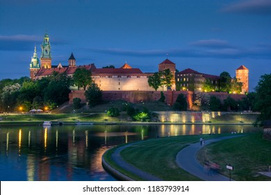 Wawel Royal Castle and Vistula river view taken from Most Dębnicki in evening sky