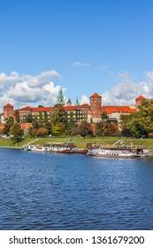Wawel Royal Castle at Vistula River in city of Krakow in Poland.