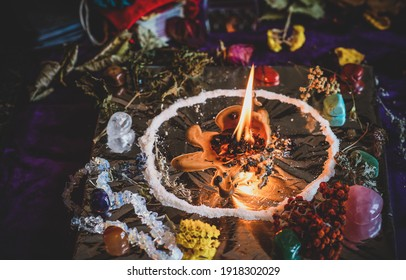 Wax casting, Wicca or Pagan magic, witch ritual, Mystical background, love magic, concept of esoteric