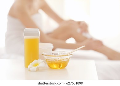 Wax depilation set on table in spa center