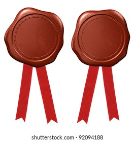 Wax seal with red ribbons