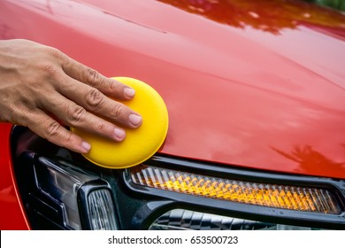 Wax sponge for waxing the car.