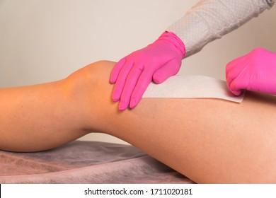 wax strips leg to remove unwanted hair medium