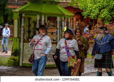 Waxahachie, Texas / USA - 11 May 2019 Scarborough Renaissance Festival Attendees to the festival strolling, talking and visiting with one another.