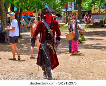 Waxahachie, Texas / USA - 11 May 2019 Scarborough Renaissance Festival Deadpool the pirate makes an impression as he walks though the village.