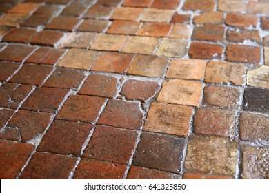 Waxed antique French terracotta floor tiles
