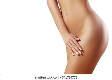 Waxing for beautiful woman. Brazilian laser hair removal bikini line an sexy body shapes. Body care and clean skin. Sexy woman in spa