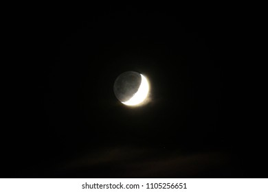 Waxing Crescent Moon - Long Exposure