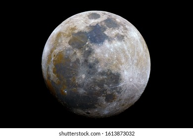 Waxing gibbous mineral Moon phase, isolated in the black space, with its natural colors, from red to blue (iron, titanium).