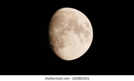 Waxing moon at night