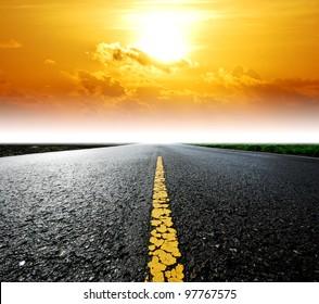 Way background road destination sunset cloud sky beam