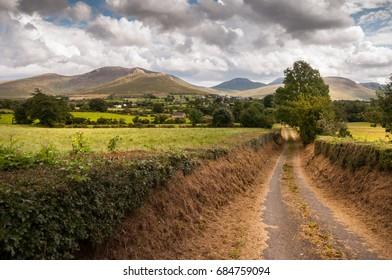 Way between fields in Mourne mountains, Northern Ireland