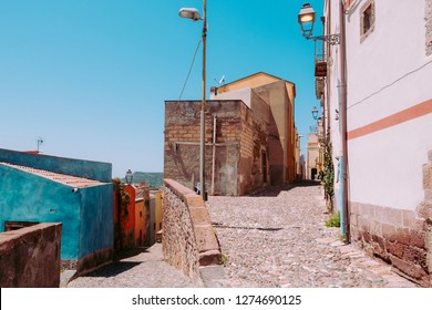 Way up to the castle in Bosa village, Sardinia, Italy.