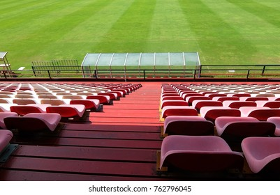 The way down of football stadium seats. Empty seats.