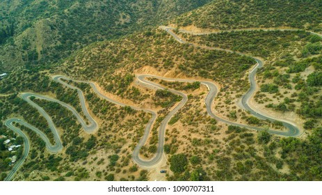 The way to Farellones in Santiago de Chile is a curvy road inside the Andes, here we can have an aerial view of the multiple bends to reach the summit