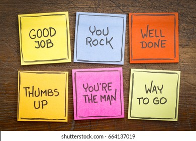 way to go, good job, well done, you're the man, thumbs up, you rock - a set of colorful sticky notes with positive affirmation words against rustic wood