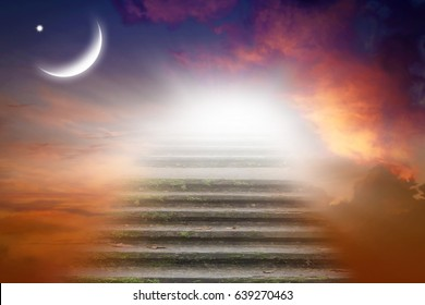 Way to heaven . Religious background .  Sunset and new moon .