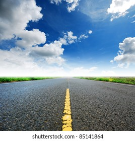 Way high way blue sky to Travel Destination journey