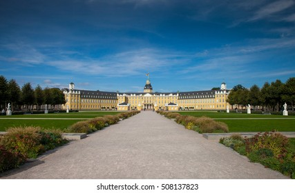 The way to Karlsruhe Palace in a sunny day