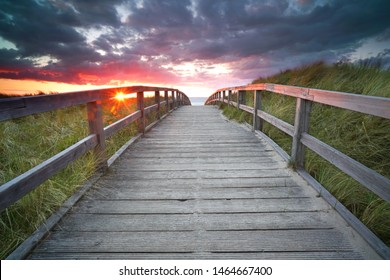 way to the ocean - wooden walkway to the beach